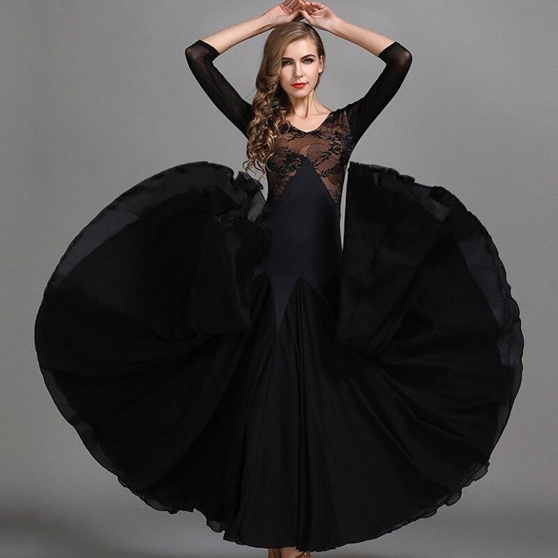 a5390a99f68f0e2 Черный, красный Вальс платье Румба Стандартный кружева танцевальные платья  Стандартный социальных платье для бальных танцев