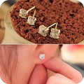 Promotion Classic Crystal gold color Stud Earrings for Women Dress new Gifts Wholesale
