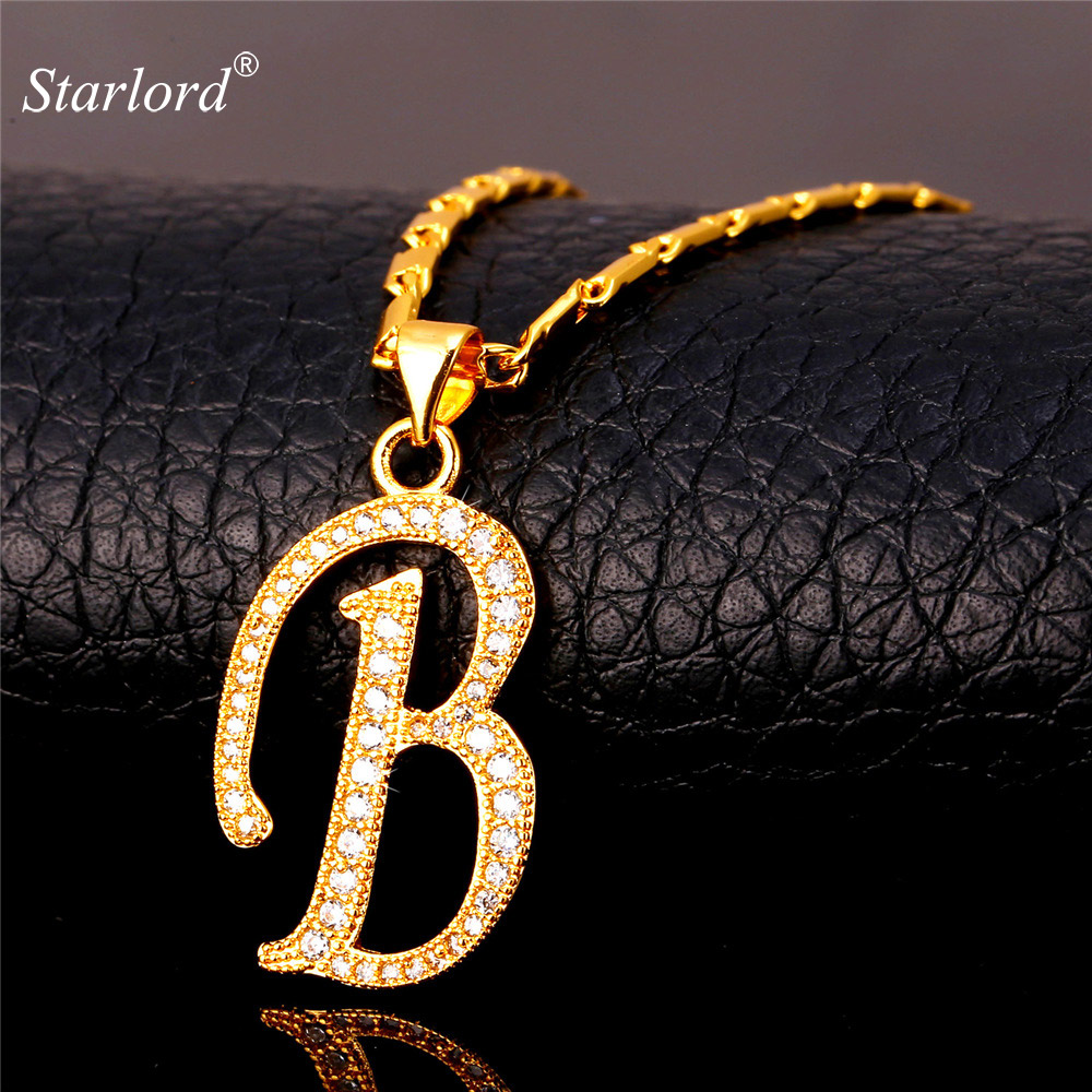 Initial B Letter Pendants U0026 Necklaces WomenMen Personalized Gift Alphabet  Jewelry Gold Color Necklace P1672(