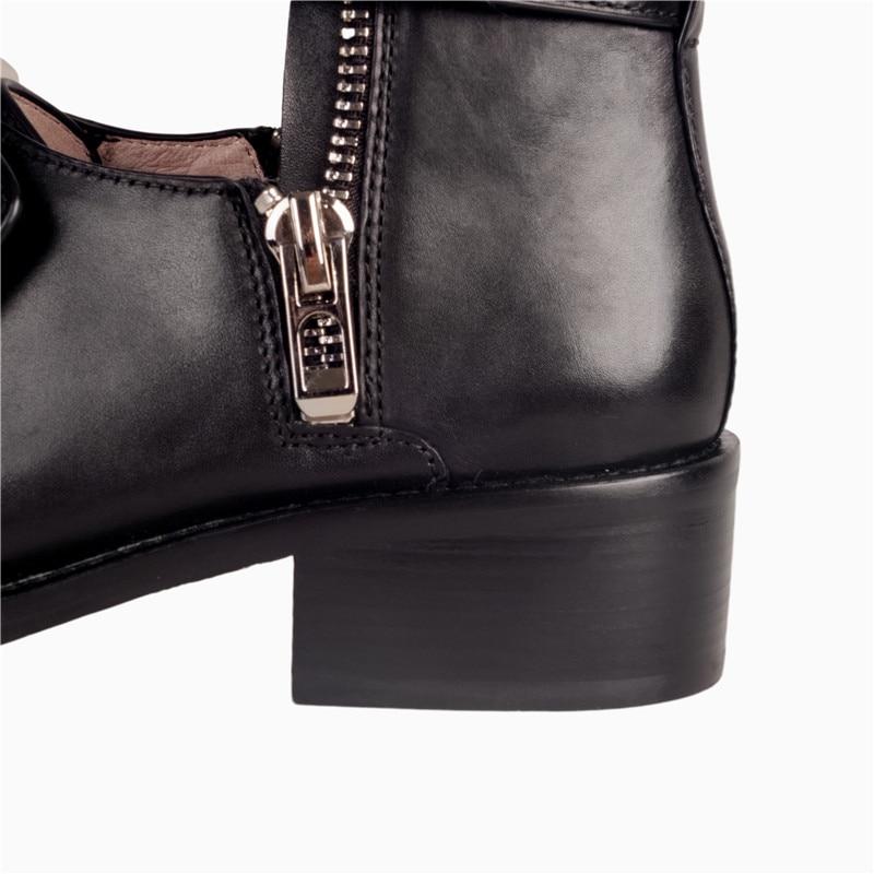 Cr993 Bottines 39 Rond 34 Éclair Enmayer Black Épais Taille Chaussures Creux Fermeture Femmes Métal En Talons De Décontractées Cuir Bout Vache Med BBqwp4R