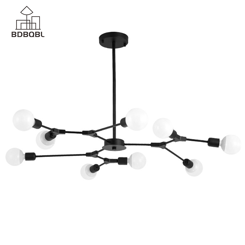 BDBQBL Modern Aluminum Alloy LED Ceiling Chandelier 3/6/9 Heads Black&Golden Creative Chandelier Lighting E27 Blub ChandeliersBDBQBL Modern Aluminum Alloy LED Ceiling Chandelier 3/6/9 Heads Black&Golden Creative Chandelier Lighting E27 Blub Chandeliers