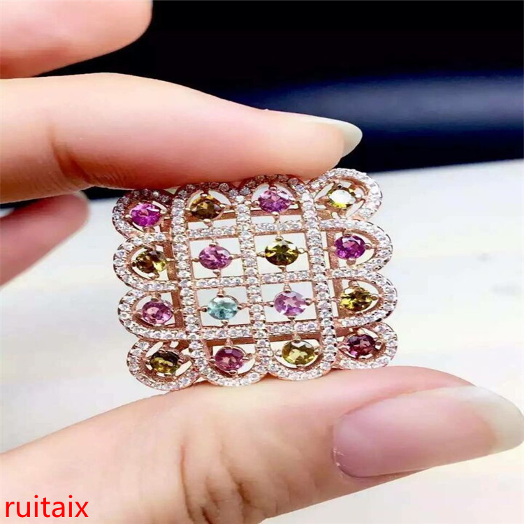 boutique jewels S925 silver rose tourmaline diamond pendant jewelry natural gift box chain parcel post.