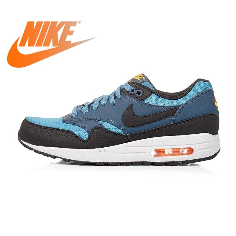 Original authentique NIKE respirant Air Max 1 hommes chaussures de course baskets bleu rouge et jaune 537383 Sports plein Air Jogging