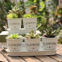 1set White Metal Flower Bucket Nordic Style Creative Succulent Plant Pot Iron Personality Floral Tray Bonsai Decoration Vase