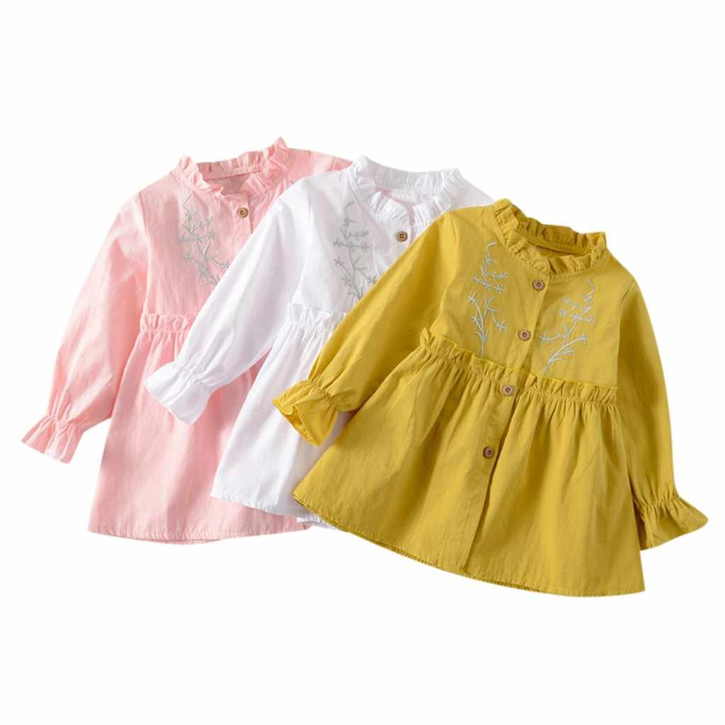 Cute Baby Dresses for Girls Birthday Bebes Long sleeves Prince Dress Long Sleeve Solid Ruched Floral Dressed Vestido Infantil