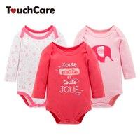 3Pcs Cute Animal Colorful Flower Printed Cotton Baby Romper Infant Long Sleeve Stripe Toddler Jumpsuit Newborn