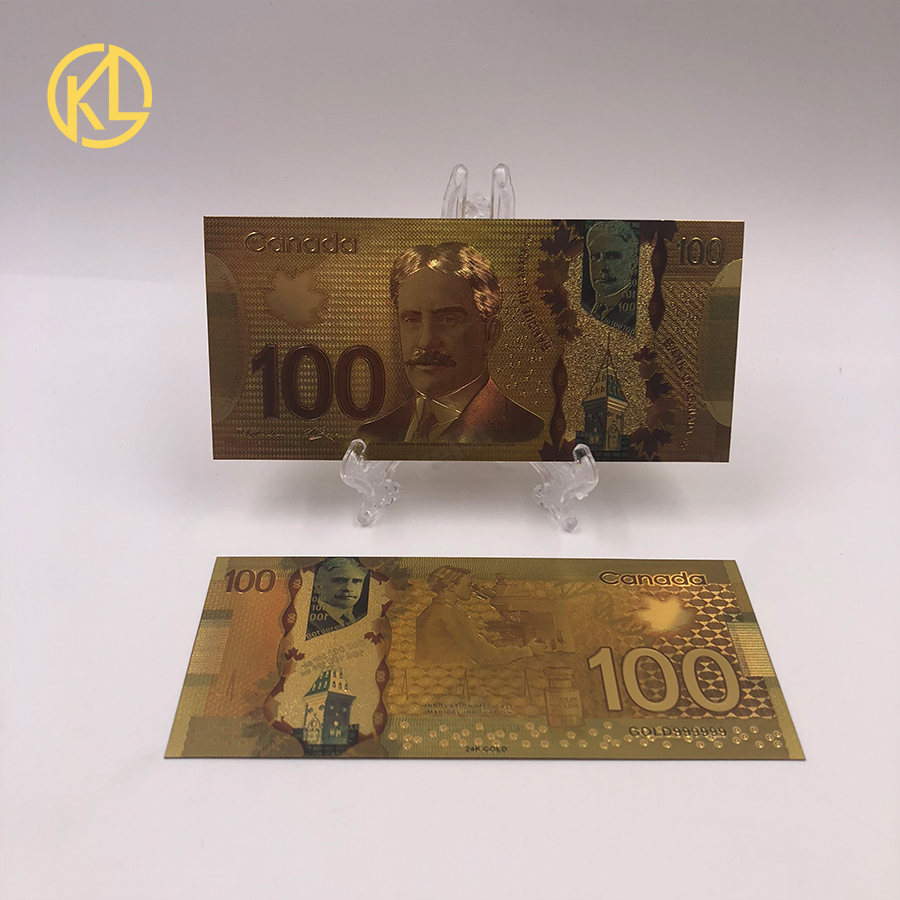 100pcs lot Currency Banque Du Canada Souvenir Banknote 100 Canadian Dollar Gold Foil Banknote Bill for