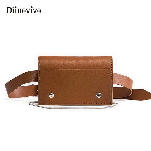 DIINOVIVO Women Bag Popular Leather Waist Pack Chain Shoulder Bags Fashion Hand Free Bag Female Chest Pack Bag Phone WHDV0400