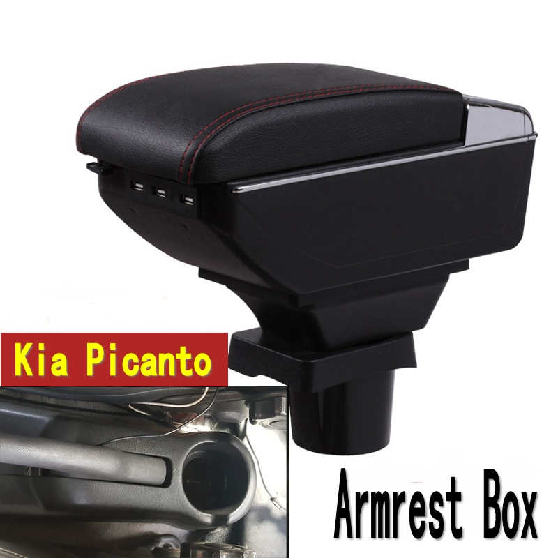 For kia picanto armrest box central Store content Storage box armrest box with cup holder ashtray USB interface for chery tiggo 2 3x 2016 2017 2018 armrest box central store content box with cup holder ashtray decoration with usb interface