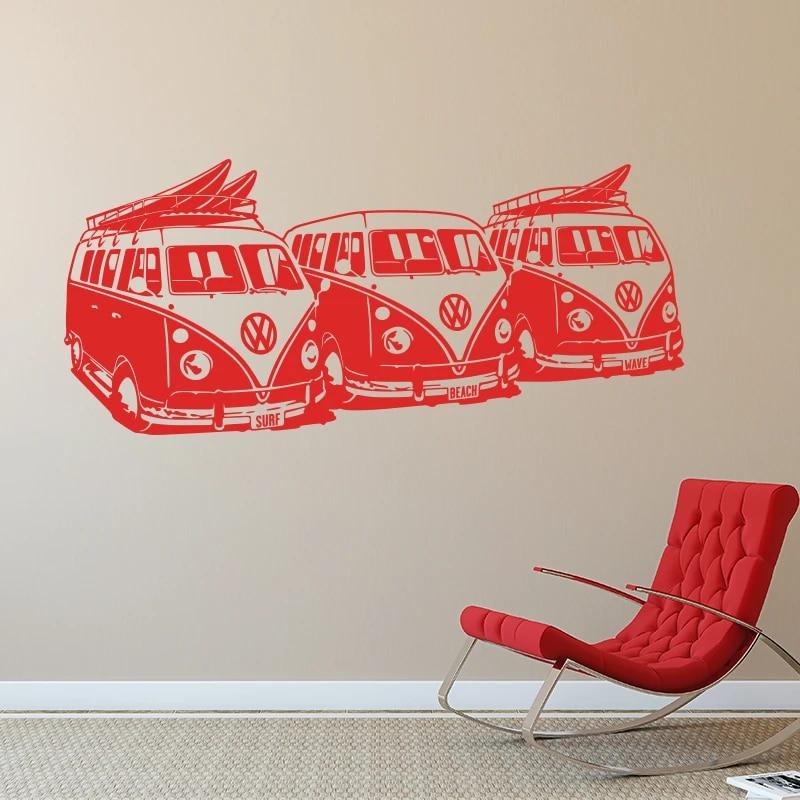 Free shipping Art Design Wall Sticker 3 Volkswagen Surf Vans Home ...