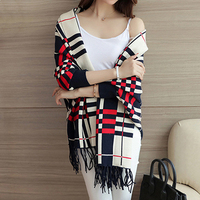 Women Cashmere Poncho Plaid Pashmina Women Vintage Fringe Blanket Wraps Female Italian Style Cape Lady Brand