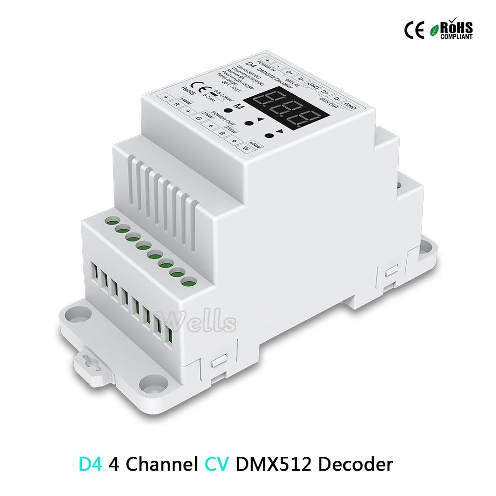 D4 (CV)/DL (0-10 V) 4CH DMX512 decodificação; d4 RGB/RGBW Controlador montado em trilho Din 4 Canal levou Controlador de Escurecimento