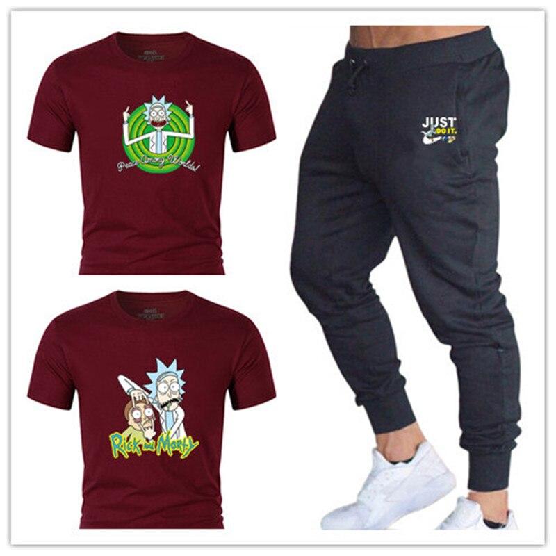 Для мужчин наборы футболки + Штаны комплекты из двух предметов Повседневное спортивный костюм Для мужчин/Новинки для женщин модные купальн...