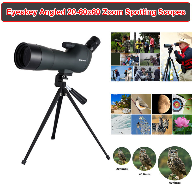 Eyeskey Waterproof Angled 20-60x60 Zoom Spotting Scopes Monocular With Tripod Spotting Scopes Camera For Bird Watching Hunting dural use adapter for universal for spotting scopes
