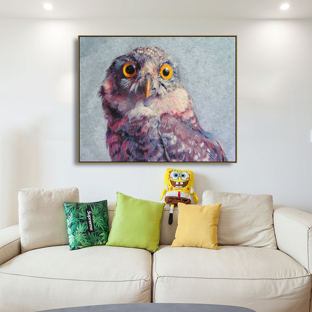 Watercolor Lovely Owl Animals Prints Paintings Home Decoration Wall Art Pictures For Living Room Bedroom in Painting Calligraphy from Home Garden