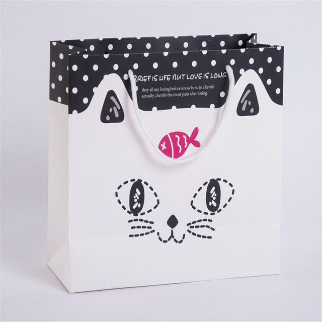 High Quality Cute Birthday Gift Paper Bag 301227cm Fish And Cat Pattern Bags Candy Pochette Cadeau Wedding