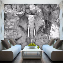 Modern three-dimensional elephant decoration background wall professional production wallpaper mural custom poster photo wall