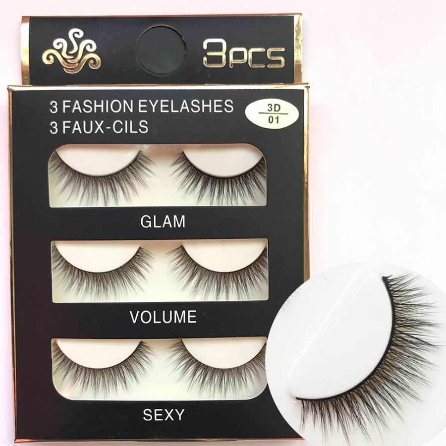 3 Pairs/lot Natural Long 3D False Eyelashes Quality Fiber Hair Handmade Makeup Beauty Thick Fake Eye Lashes Extension Tools
