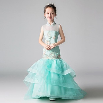 Luxury Girl Dress Children Ball Gown Sleeveless Wedding Party Mermaid Gown Kids Pageant Sexy Trailing Dress Modis Vestidos Y1365