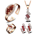 Jewelry sets women fashion red crystal gold plated jewelry necklaces rings stud earrings bracelets Bridal wedding Jewelry sets