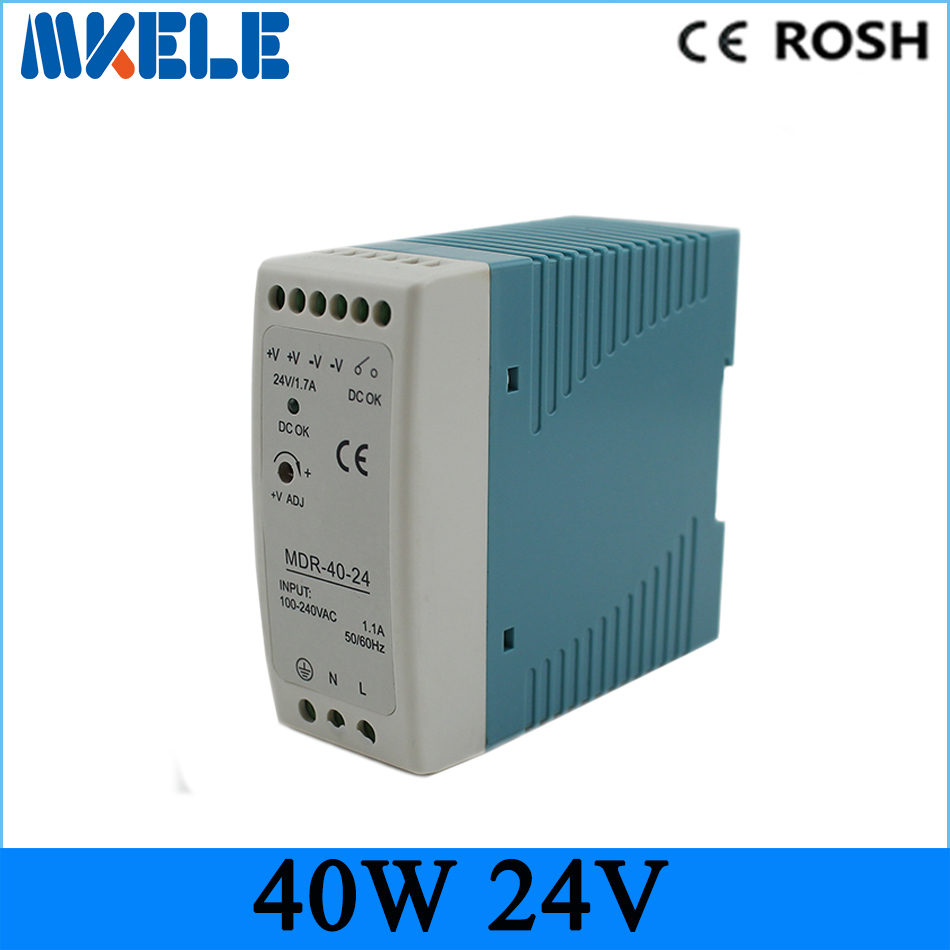 mini size high quality switching power supply 24v 40w MDR-40-24 DIN Rail power supply for led driver