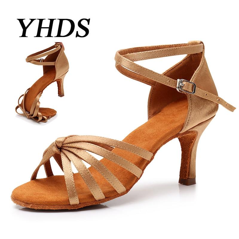 YHDS Latin Dance Shoes For Women Girls Tango Dance High Heels soft Dancing Shoes 5/7cm Salsa Ballroom Dance Ballroom Dance