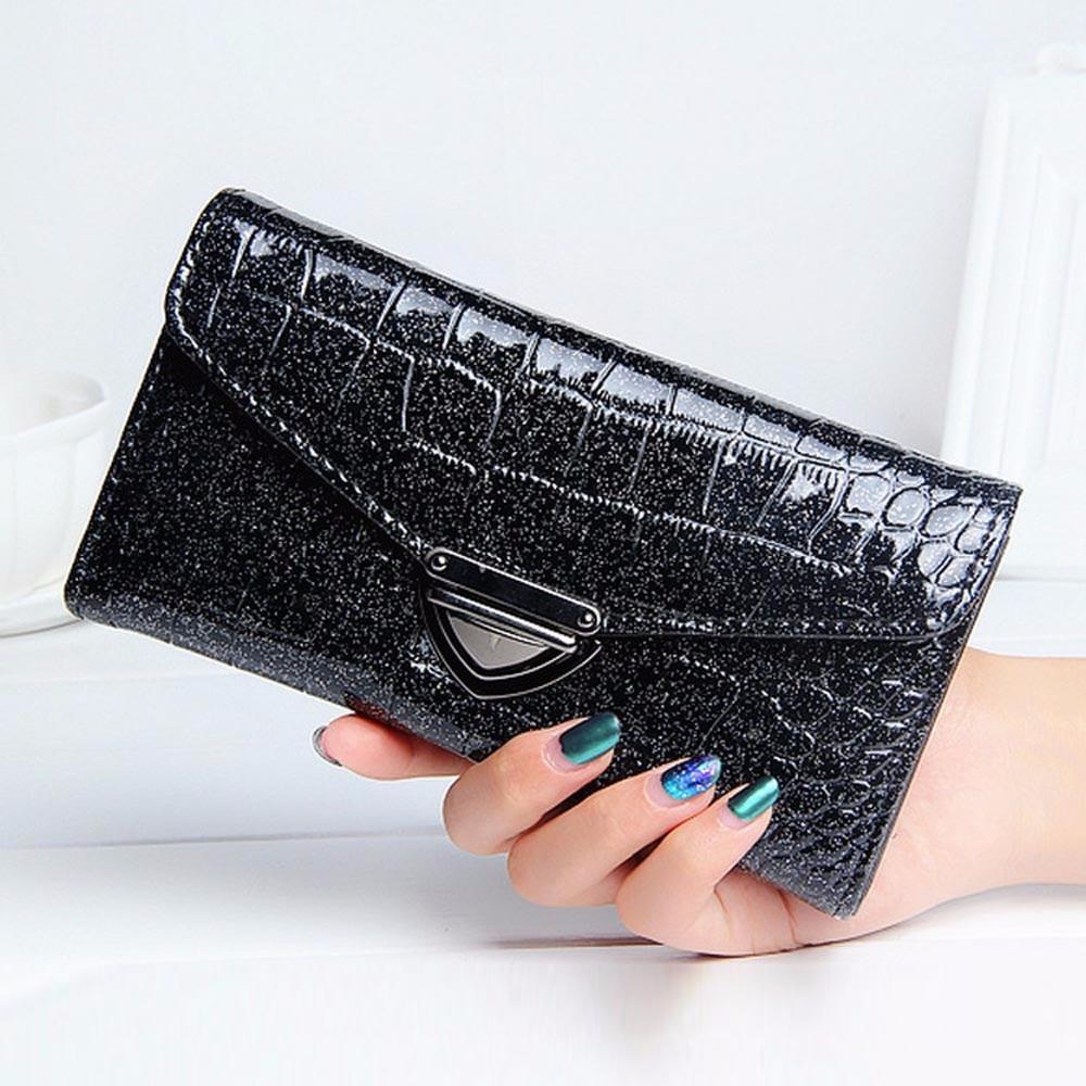 2017 Fashion Women Crocodile Pattern Coin Purse Long Wallet Card Holders Handbag Quality Purse Female Casual Clutch Money Bag mooistar2 3001 women solid color coin purse long wallet card holders handbag