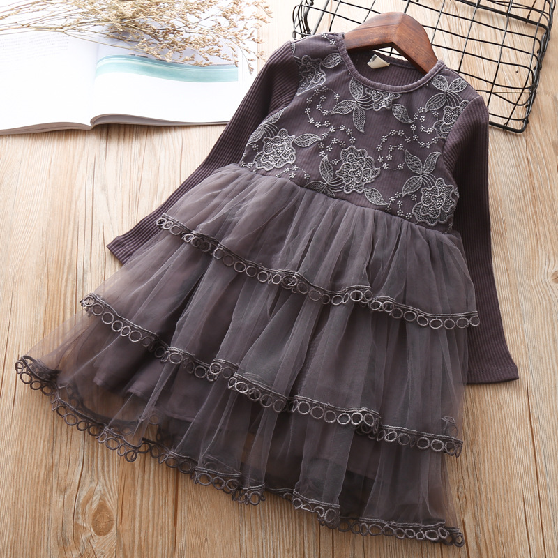 Girls Dress Elegant Autumn long Sleeve Cotton Dresses Kids Little Girl Clothes 3 4 5 6 7 years Birthday Princess Beautiful Dress 2017 autumn girls dresses 3 4 5 6 7 8 9 10 years long sleeve plaid dress for girl clothes cotton pattern baby children clothing