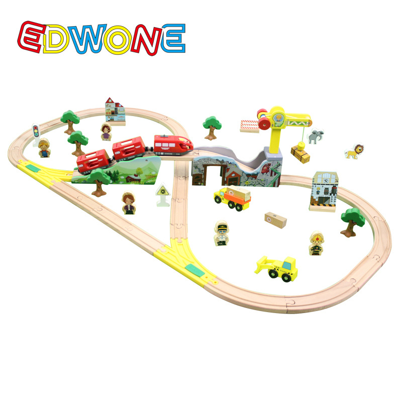 EDWONE 70PCS Tracks Set Thomas Electric Train Color Bridge Wooden Railway Track Thomas Xmas Gifts For Kids