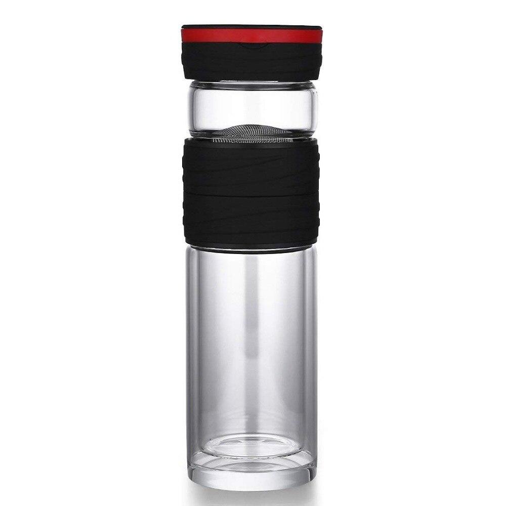Double Paroi Tasse de Café pour gobelet à thé bouteille en verre pour le Thé Avec Boule À Thé Tasse pour le Café D'eau Noir Thé Tasses