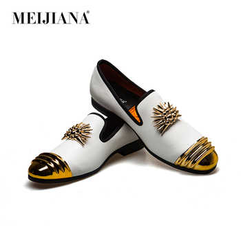 MEIJIANA Brand New Luxury Men Loafer Patchwork Genuine Leather And Horsehair Round Toe Slip On Loafers Men Shoes