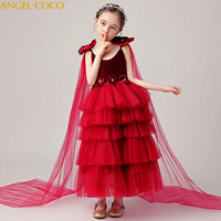Burgundy Velvet Girl Dress Boutique Vintage Kid Clothes For Girl Pearls Kids Formal Dress Girl Pageant Party Birthday Gown 3 16