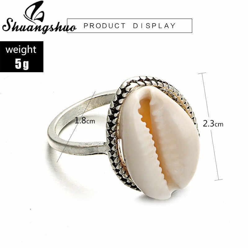 Shuangshuo แฟชั่นแหวนผู้หญิงธรรมชาติแหวน Ocean Beach Seashell ว่ายน้ำแหวนผู้หญิง Midi Finger แหวน Boho