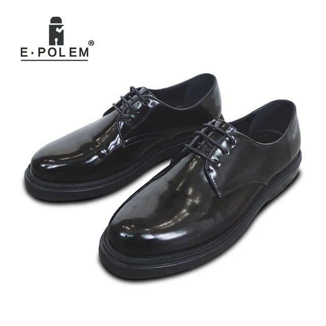 09565587a5fc 2018 Fashion Men Platform Sneakers Patent Leather Lace Up Flat Shoes Spring  Autumn Black Casual Male Oxford Shoes
