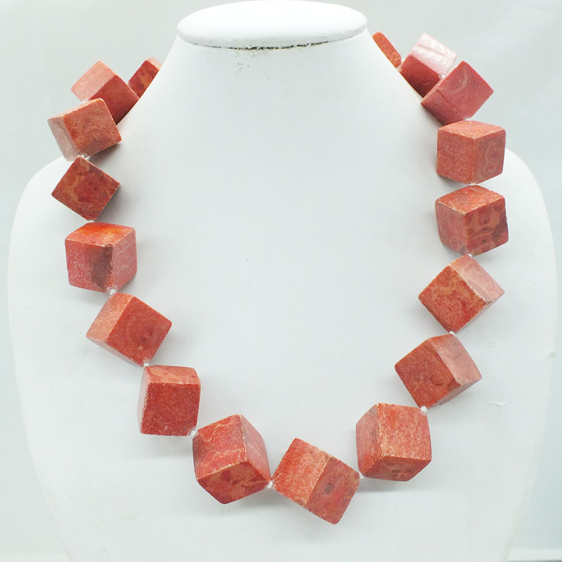 Free Shipping 20mm huge sponge red coral necklace 22