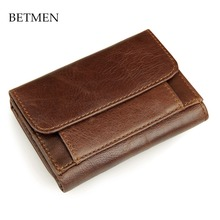 BETMEN Vintage Genuine Leather Men Wallets Short Casual Brand Wallet Purse with Coin Pocket