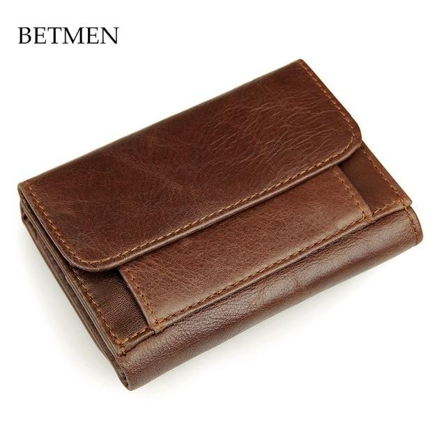 Betmen vintage hombres del cuero genuino monederos corto de marca informal monedero de la cartera con bolsillo de la moneda