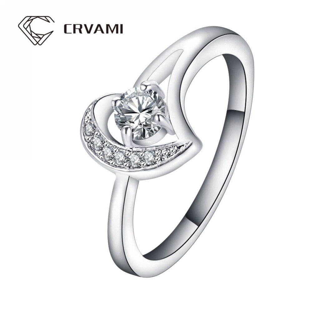 Crvami Ring, 2016 New Fashion Romantic Wedding Rings Platinum Plated Inlay  Shiny Cz Diamond Unique