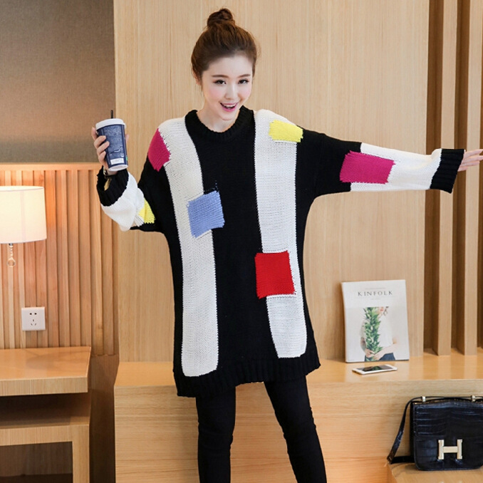 Maternity new winter 2016 Korean fashion big yards pregnant women, long-sleeved round neck sweater hedging 8387S
