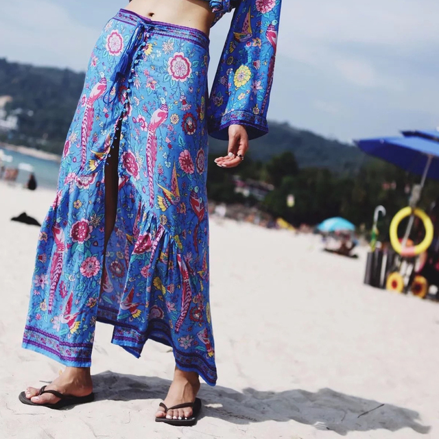 0d17a7dbe8 Gypsy Tassel Peacock Blue Summer Skirt Women Bohemian Boho Beach Maxi Skirt  Floral Print Retro Vintage Ethnic Long Skirts Womens