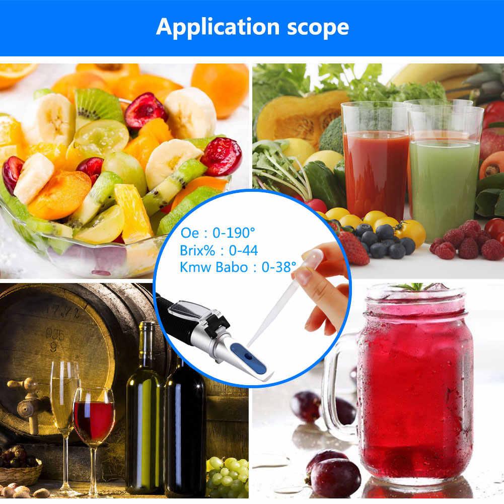 Новый 3 в 1 ручной 0 ~ 44% БРИКС 0 ~ 190 Oe Oechsle 0 ~ 38 KMW рефрактометр вино пиво фруктовый сок варить Oechsle БРИКС рефрактометр
