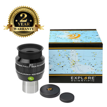 New Explore Scientific Eyepiece 68 degree Extreme Wide Field Waterproof 1.25inch 20mm Argon-Purged EMD Coatings