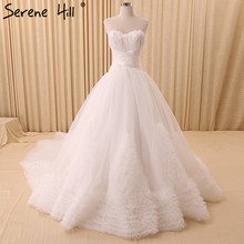 2017 White Feathers Tiered Fashion Wedding Dresses Sleeveless Sexy Tulle Bridal Train Wedding Gown Robe De Mariee