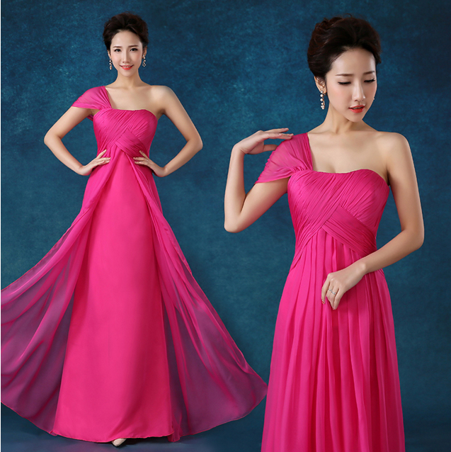 Fuschia Bride Maid Party Dresses High Fuchsia One Shoulder Elegant