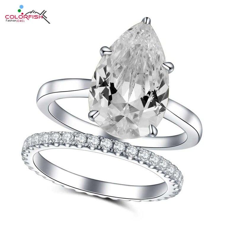 COLORFISH solide 925 en argent Sterling en forme de poire anneaux pour femmes 4 ct Zircon synthétique de luxe bijoux de mode bague de fiançailles ensemble