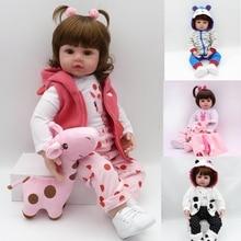 Reborn Dolls de Silicone Girl Body 47cm adorable Doll Toys For Girls boneca Baby Bebe Birthday / Christmas Gift