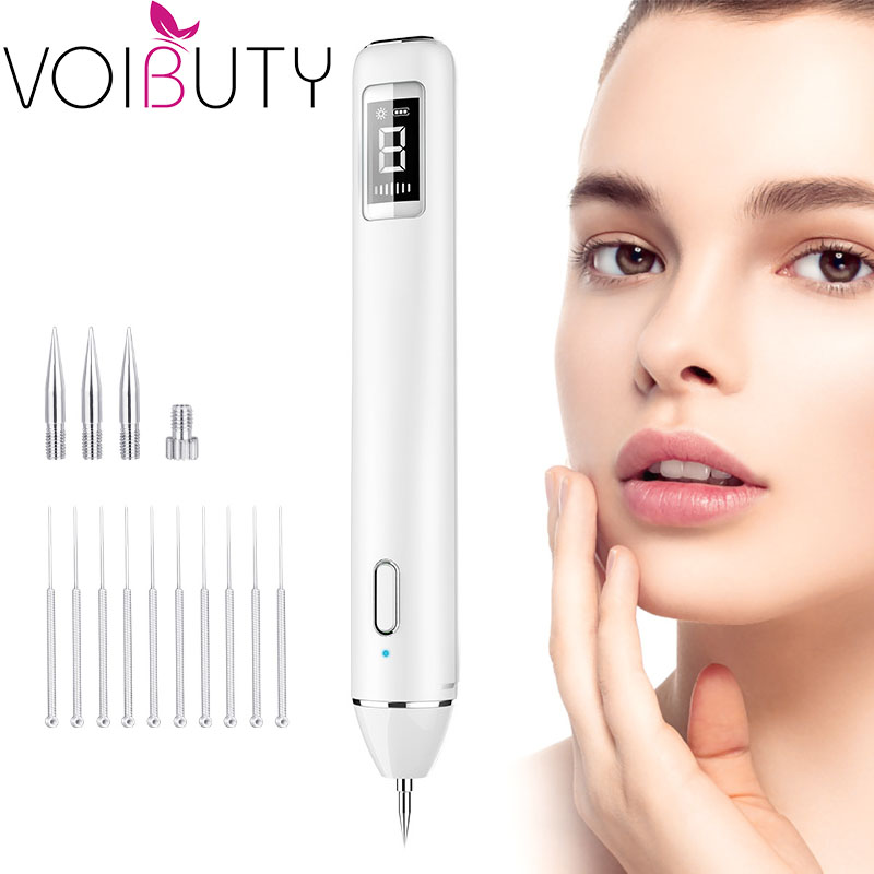 Voibuty LCD Display Plasma Pen Laser Dot Spot Mole Remover Facial Tattoo Freckle Removal Beauty Device With Spotlight Skin Care