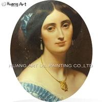 Print Imitation Painting on Wooden Portrait of the Princess de Broglie Printed Oil Painting Home or Hotel Decor Portrait Art