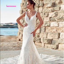 LEIYINXIANG Wedding Dresses Sleeveless Backless V-Neck