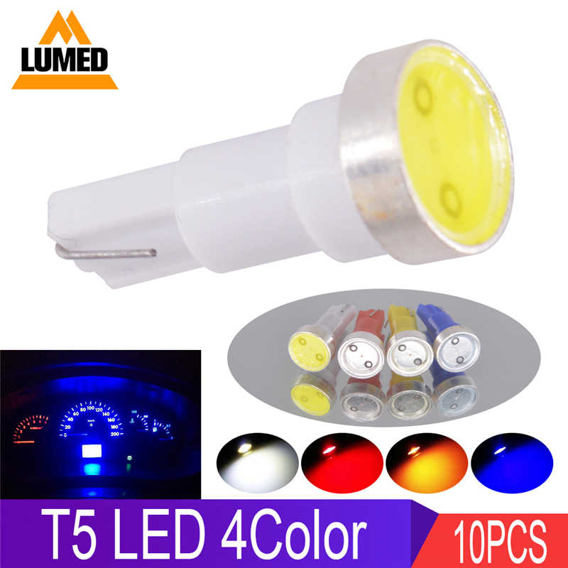 10x T5 LED 12516 W1.2W Car Interior Dashboard Gauge Instrument Ceramic Auto Side Wedge Light Lamp Bulb COB